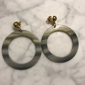 J.CREW Marbled Cream Dangle Earrings